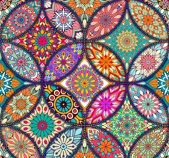 002811 Colorful background with different mandalas Vector Free Download
